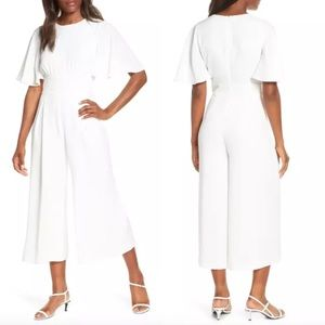 NEW Eliza J Wide Leg Crop Jumpsuit Flutter Sleeve